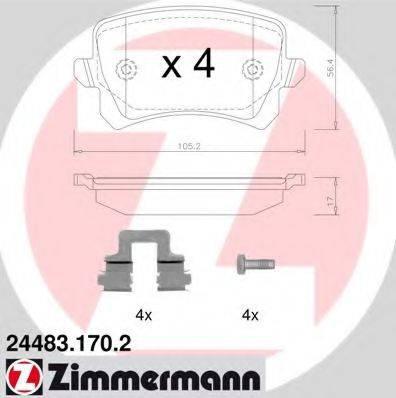 Комплект тормозных колодок, дисковый тормоз ZIMMERMANN 244831702 на VW PASSAT (362)