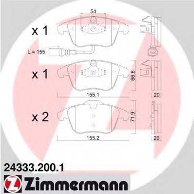 Комплект тормозных колодок, дисковый тормоз ZIMMERMANN 243332001 на SEAT ALHAMBRA (710, 711)