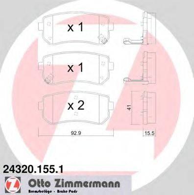 Комплект тормозных колодок, дисковый тормоз ZIMMERMANN 243201551 на HYUNDAI ix20 (JC)