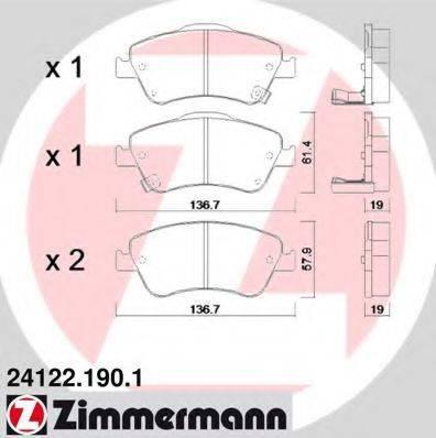 Комплект тормозных колодок, дисковый тормоз ZIMMERMANN 241221901 на TOYOTA BLADE (NRE15_, ZZE15_, ADE15_, ZRE15_, NDE15_)