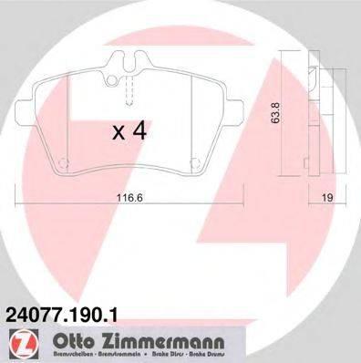 Комплект тормозных колодок, дисковый тормоз ZIMMERMANN 240771901 на MERCEDES-BENZ A-CLASS (W169)