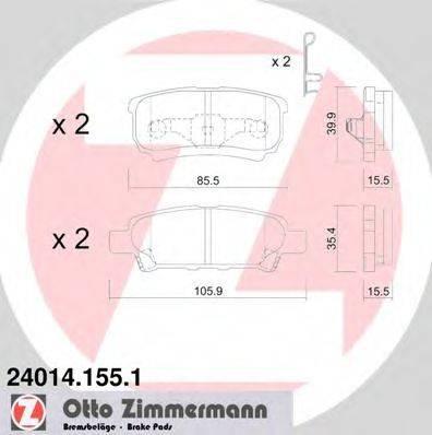 Комплект тормозных колодок, дисковый тормоз ZIMMERMANN 240141551 на MITSUBISHI LANCER EX седан (CY/Z_A)