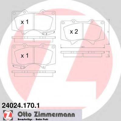 Комплект тормозных колодок, дисковый тормоз ZIMMERMANN 240241701 на TOYOTA LAND CRUISER PRADO (KDJ15_, GRJ15_)