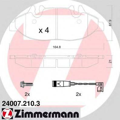 Комплект тормозных колодок, дисковый тормоз ZIMMERMANN 240072103 на MERCEDES-BENZ V-CLASS (W639)