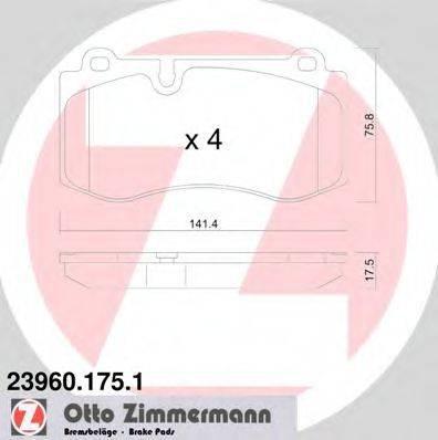 Комплект тормозных колодок, дисковый тормоз ZIMMERMANN 239601751 на MERCEDES-BENZ S-CLASS седан (W221)