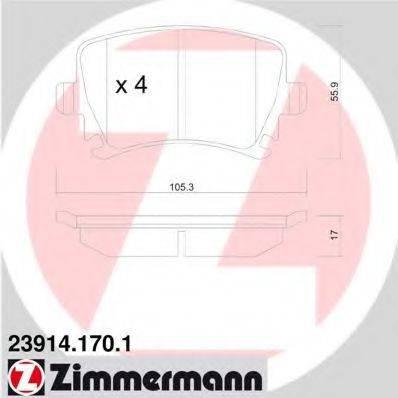 Комплект тормозных колодок, дисковый тормоз ZIMMERMANN 239141701 на VW PASSAT (362)