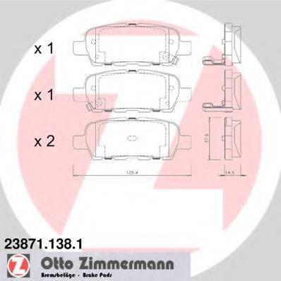 Комплект тормозных колодок, дисковый тормоз ZIMMERMANN 238711381 на NISSAN LEAF