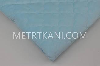 Вельвет стеганый  (облака) с синтапоновой подкладкой голубого цвета 250г/м №-ВП-9