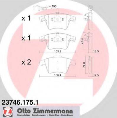 Комплект тормозных колодок, дисковый тормоз ZIMMERMANN 237461751 на VW MULTIVAN Mk V (7HM, 7HN, 7HF, 7EF, 7EM, 7EN)