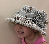 Кружевная детская льняная шляпка