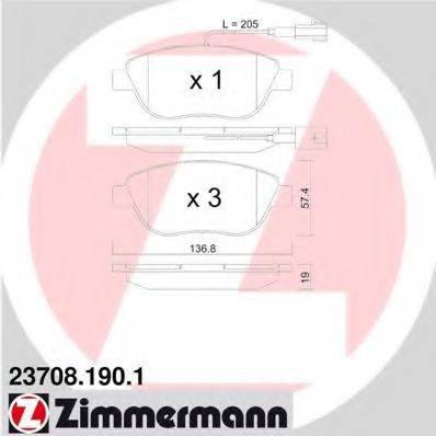 Комплект тормозных колодок, дисковый тормоз ZIMMERMANN 237081901 на FIAT DOBLO фургон/универсал (263)