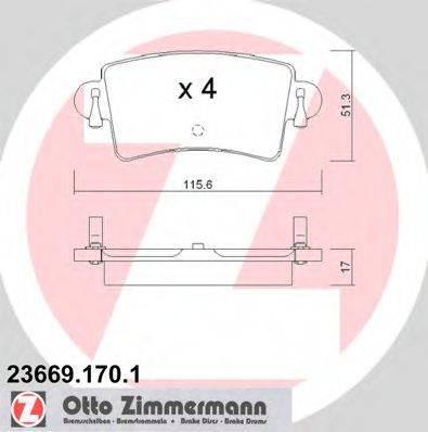 Комплект тормозных колодок, дисковый тормоз ZIMMERMANN 236691701 на RENAULT MASTER II Van (FD)