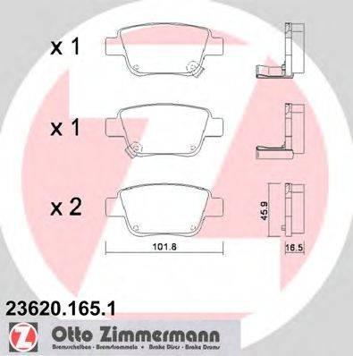Комплект тормозных колодок, дисковый тормоз ZIMMERMANN 236201651 на TOYOTA AVENSIS Combi (T25)