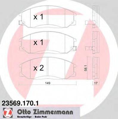 Комплект тормозных колодок, дисковый тормоз ZIMMERMANN 235691701 на HYUNDAI SANTA FÉ I (SM)