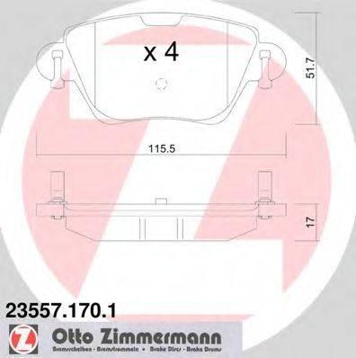 Комплект тормозных колодок, дисковый тормоз ZIMMERMANN 235571701 на JAGUAR X-TYPE Estate