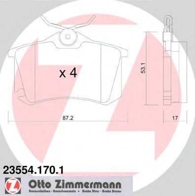 Комплект тормозных колодок, дисковый тормоз ZIMMERMANN 235541701 на CITROËN C4 II (B7)