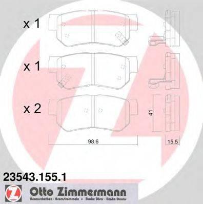 Комплект тормозных колодок, дисковый тормоз ZIMMERMANN 235431551 на HYUNDAI SANTA FÉ I (SM)