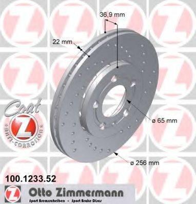 Тормозной диск ZIMMERMANN 100123352 на SEAT IBIZA V (6J5, 6P5)