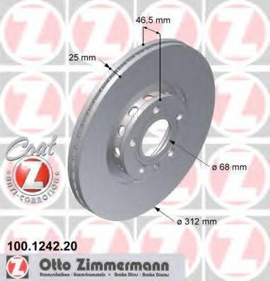 Тормозной диск ZIMMERMANN 100124220 на AUDI A6 седан (4B2, C5)
