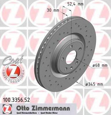 Тормозной диск ZIMMERMANN 100335652 на AUDI A7 Sportback (4GA, 4GF)