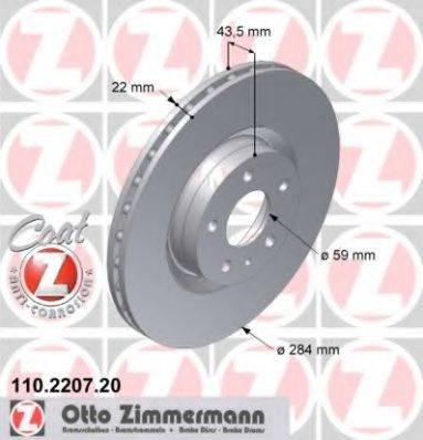 Тормозной диск ZIMMERMANN 110220720 на ALFA ROMEO 168 (164)