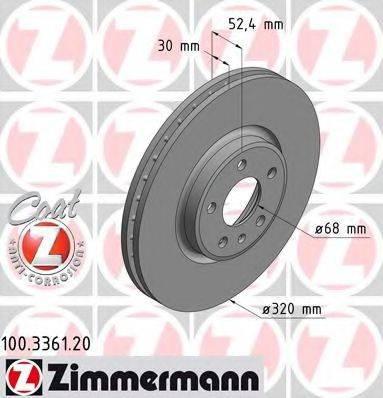 Тормозной диск ZIMMERMANN 100336120 на AUDI Q5 (8R)