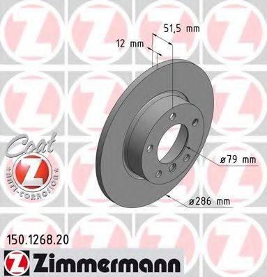 Тормозной диск ZIMMERMANN 150126820 на BMW 3 седан (E36)