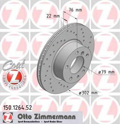 Тормозной диск ZIMMERMANN 150126452 на BMW 5 седан (E34)