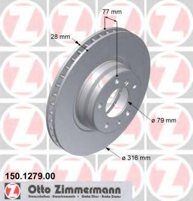 Тормозной диск ZIMMERMANN 150127920 на BMW 7 седан (E38)