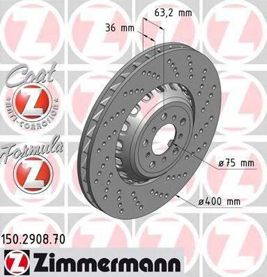 Тормозной диск ZIMMERMANN 150290870 на BMW 5 (F10, F18)