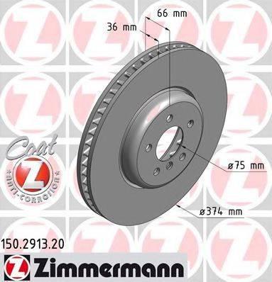 Тормозной диск ZIMMERMANN 150291320 на BMW 7 седан (F01, F02, F03, F04)