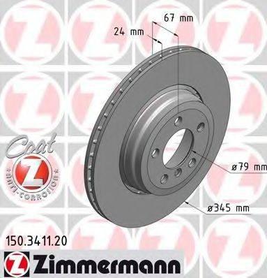 Тормозной диск ZIMMERMANN 150341120 на BMW 7 седан (E65, E66, E67)