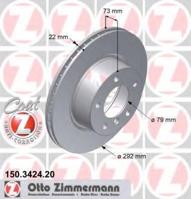 Тормозной диск ZIMMERMANN 150342420 на BMW 1 купе (E82)