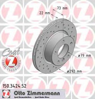 Тормозной диск ZIMMERMANN 150342452 на BMW 1 купе (E82)
