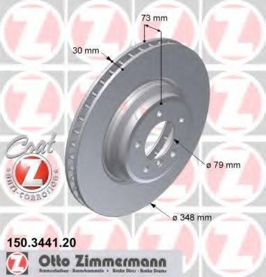 Тормозной диск ZIMMERMANN 150344120 на BMW 3 седан (E90)
