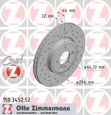 Тормозной диск ZIMMERMANN 150345252 на MINI MINI (R50, R53)