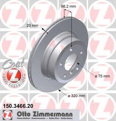 Тормозной диск ZIMMERMANN 150346620 на BMW 5 седан (E60)