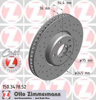 Тормозной диск ZIMMERMANN 150347852 на BMW 5 (F10, F18)