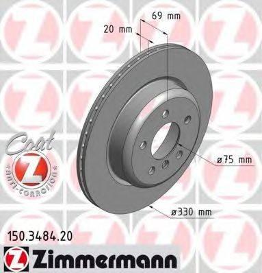 Тормозной диск ZIMMERMANN 150348420 на BMW 5 (F10, F18)