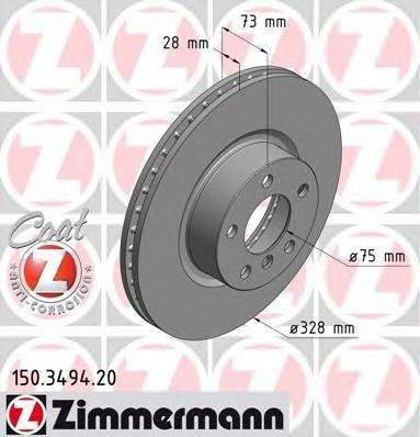 Тормозной диск ZIMMERMANN 150349420 на BMW X3 (F25)
