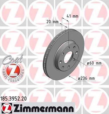 Тормозной диск ZIMMERMANN 185395220 на DAEWOO KALOS (KLAS)