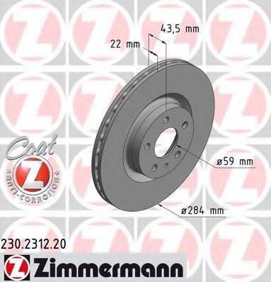 Тормозной диск ZIMMERMANN 230231220 на FIAT 500L