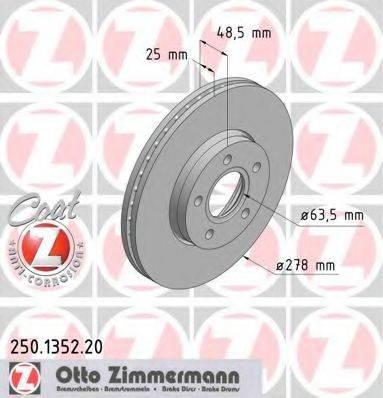 Тормозной диск ZIMMERMANN 250135220 на VOLVO C30