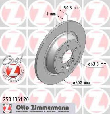 Тормозной диск ZIMMERMANN 250136120 на FORD MONDEO IV Turnier (BA7)