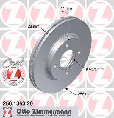 Тормозной диск ZIMMERMANN 250136320 на FORD FIESTA VI