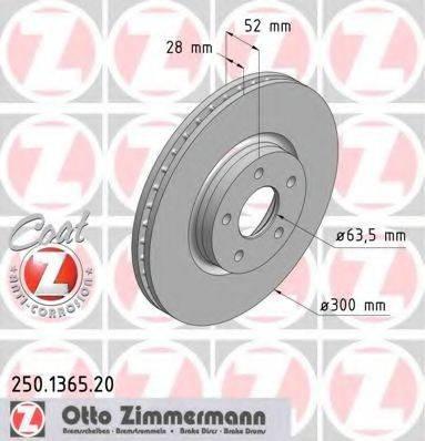 Тормозной диск ZIMMERMANN 250136520 на FORD MONDEO IV Turnier (BA7)