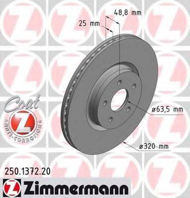 Тормозной диск ZIMMERMANN 250137220 на FORD FOCUS III Turnier