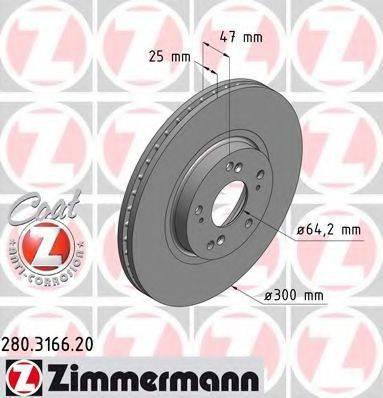 Тормозной диск ZIMMERMANN 280316620 на HONDA ACCORD EURO VIII (CL)