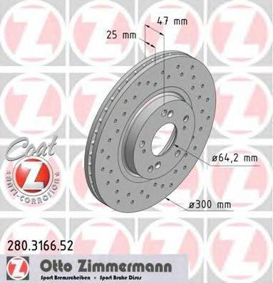 Тормозной диск ZIMMERMANN 280316652 на HONDA ACCORD EURO VIII (CL)