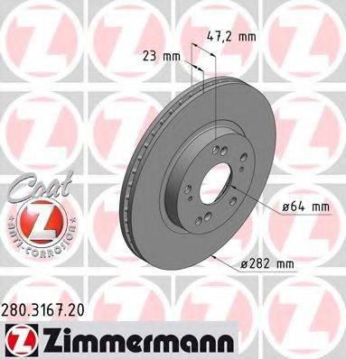 Тормозной диск ZIMMERMANN 280316720 на HONDA CIVIC VII Hatchback (EU, EP, EV)